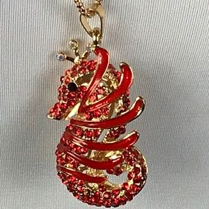 Betsey Johnson Necklace Seahorse Fantasy Red Gold